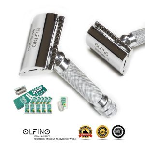 Stainless Steel Safety Razor with Derby Blades